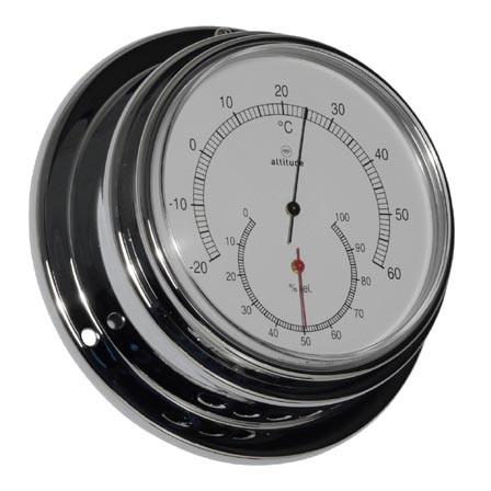 Thermometer und Hygrometer im Chromgehäuse