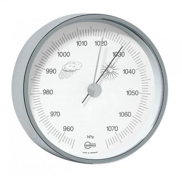 Barometer schlicht im vernickelten Messingrahmen