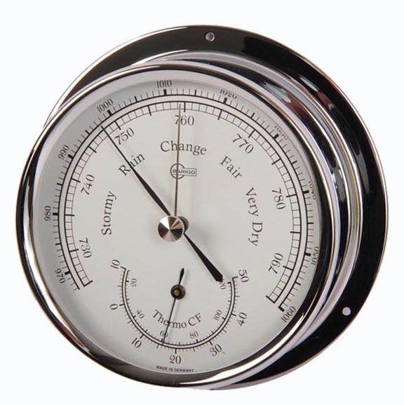 Barometer und Thermometer im Chromgehäuse