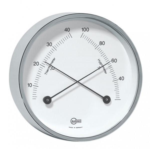 Thermometer und Hygrometer im Rahmen aus vernickelten Messing