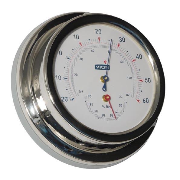 Thermometer und Hygrometer Edelstahl poliert