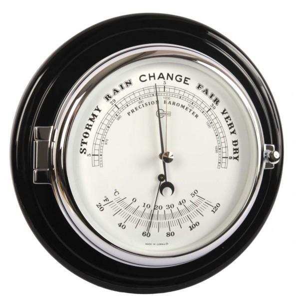 Schiffsbaromter mit Thermometer im schwarzen, glänzenden Mahagonikorpus