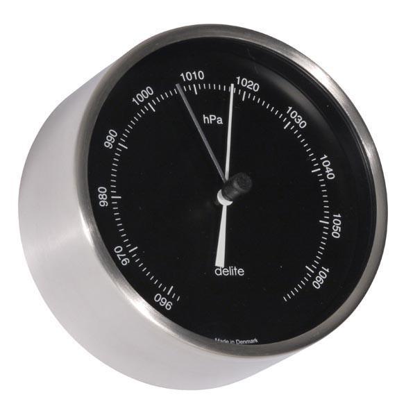 Clausen Barometer Edelstahl gebürstet Skala schwarz