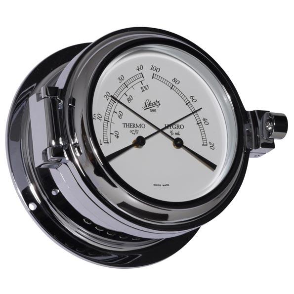 Analog Thermometer und Hygrometer im Chromgehäuse