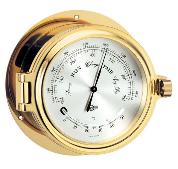 Barometer / Thermometer in einem massiven Bullaugengehäuse aus Messing