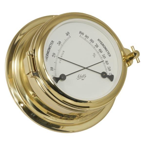 Thermometer und Hygrometer in einem Messinggehäuse
