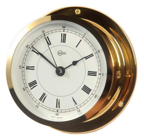 Maritime Uhr mit Quarzwerk im Messinggehäuse