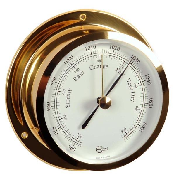 Yachtbarometer im hochglanzpolierten Messinggehäuse
