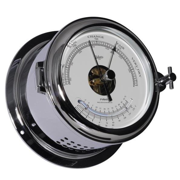 Barometer und Thermometer im massiven Chromgehäuse