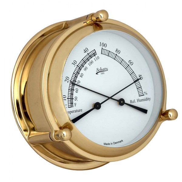Schatz Mini Ocean Thermometer Hygrometer Messing 107mm