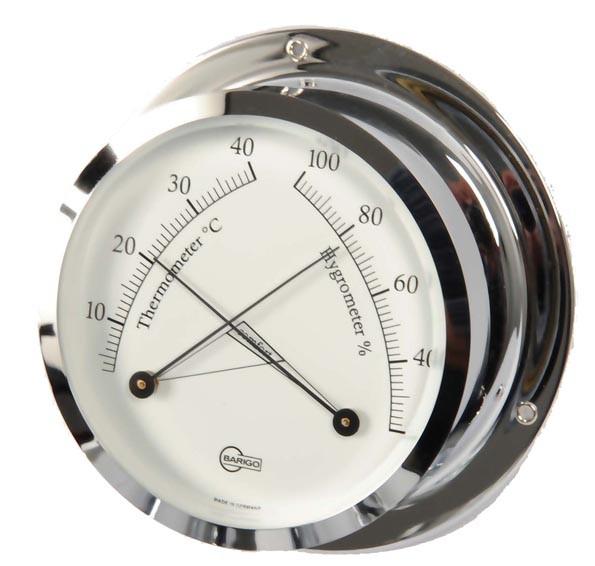Maritimes Instrument aus Thermometer und Hygrometer im verchromten Messinggehäuse