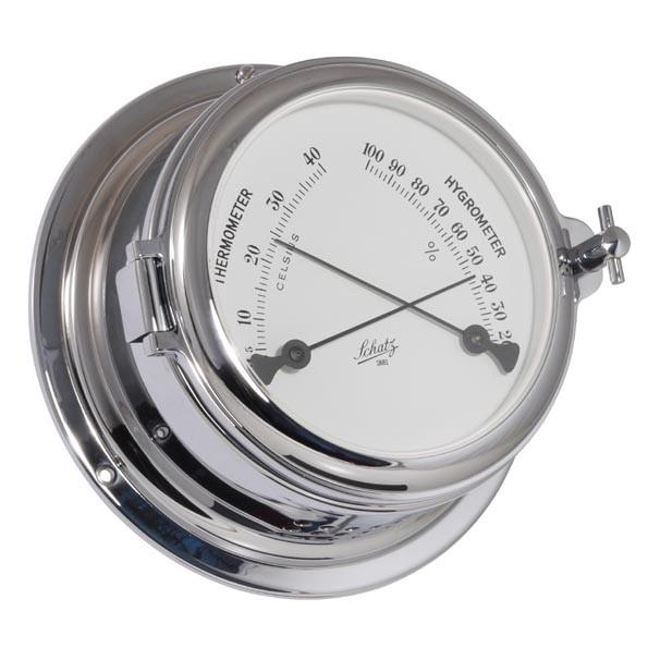Thermometer und Hygrometer im Gehäuse aus verchromten Messing