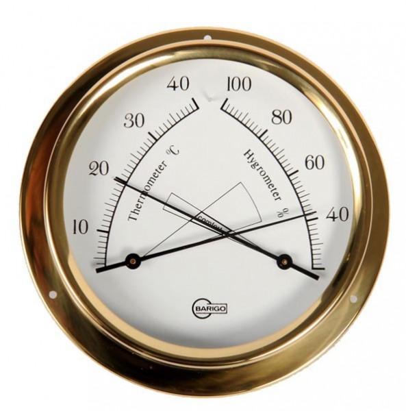 Thermometer und Hygrometer im Gehäuse aus Messing