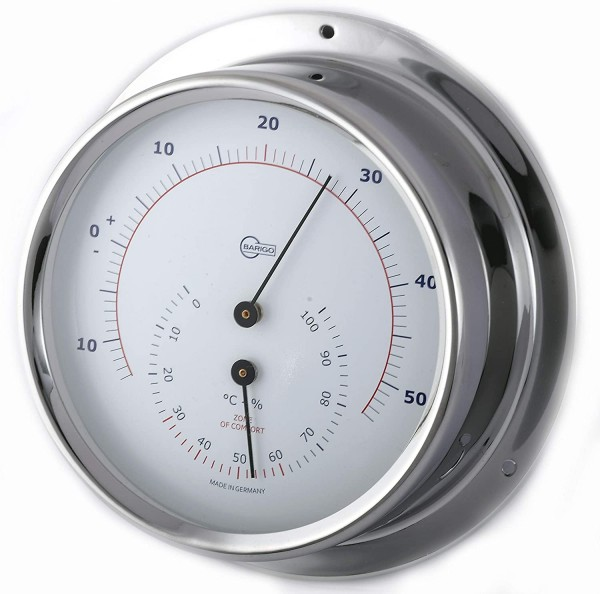 Barigo Regatta Edelstahl Thermometer Hygrometer 120mm