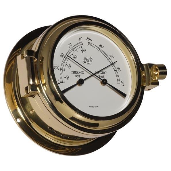 Thermometer und Hygrometer im polierten Messinggehäuse