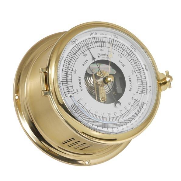Barometer und Thermometer in einem Messinggehäuse