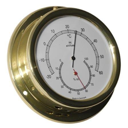Thermometer und Hygrometer zusammen in einem Messinggehäuse