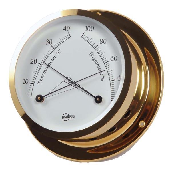 Thermometer und Hygrometer  in einem hochglänzenden Messinggehäuse