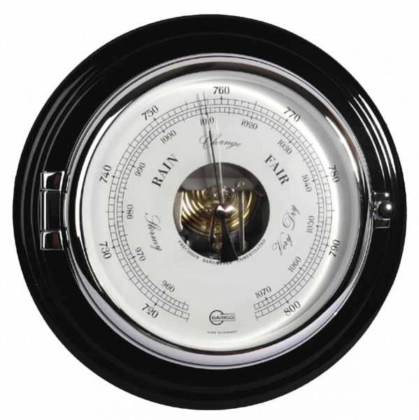 Barigo Captain Schiffsbarometer massiv Mahagoni chrom