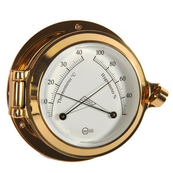 Thermometer und Hygrometer im massiven Bullaugenmessinggehäuse