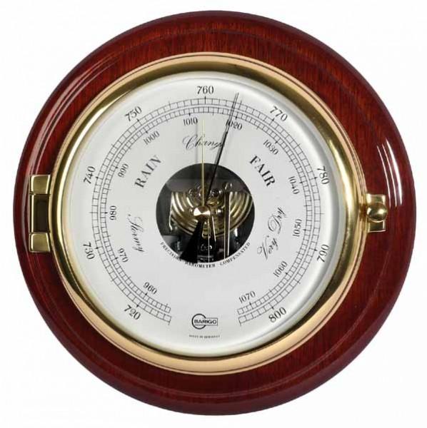 Barigo Schiffsbarometer massiv Mahagoni messing