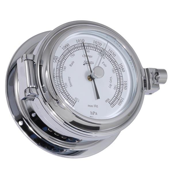 Analoges Yachtbarometer im Chromgehäuse, poliert