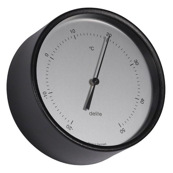 Clausen analog Thermometer Edelstahl schwarz lackiert