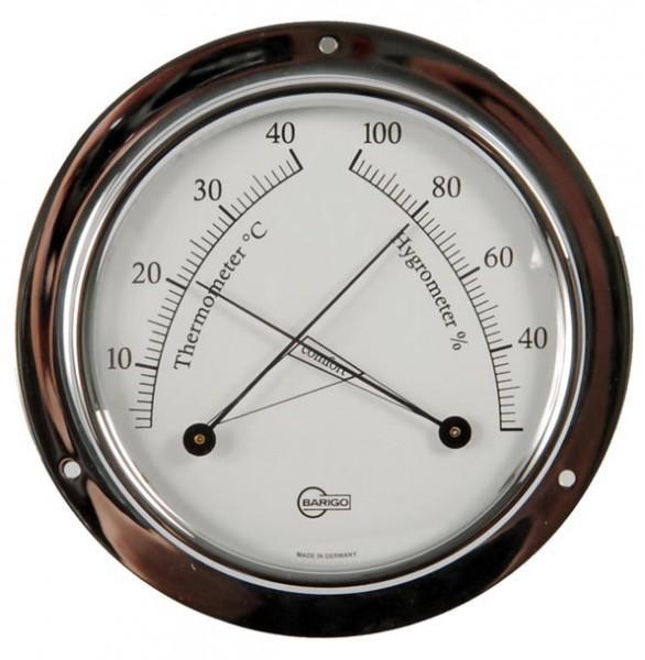 Thermometer und Hygrometer im verchromten Messinggehäuse