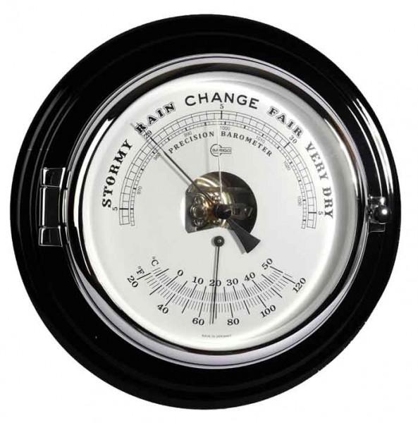Schiffsbarometer Thermometer im schwarzen, glänzenden Mahagonikorpus