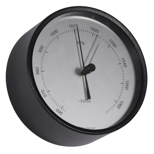 Clausen analog Barometer Edelstahl schwarz lackiert