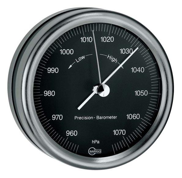 Barometer im schwarzen Edelstahlgehäuse
