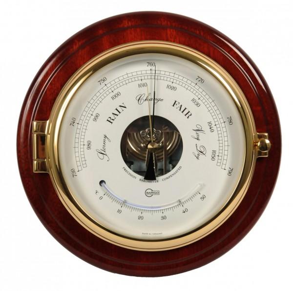 Barometer und Thermometer im hochglänzenden Mahagonikorpus