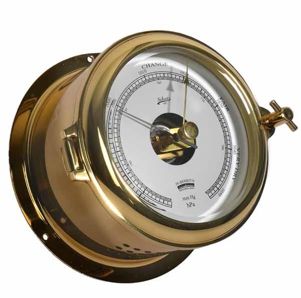 Barometer im Bullaugengehäuse aus Messing