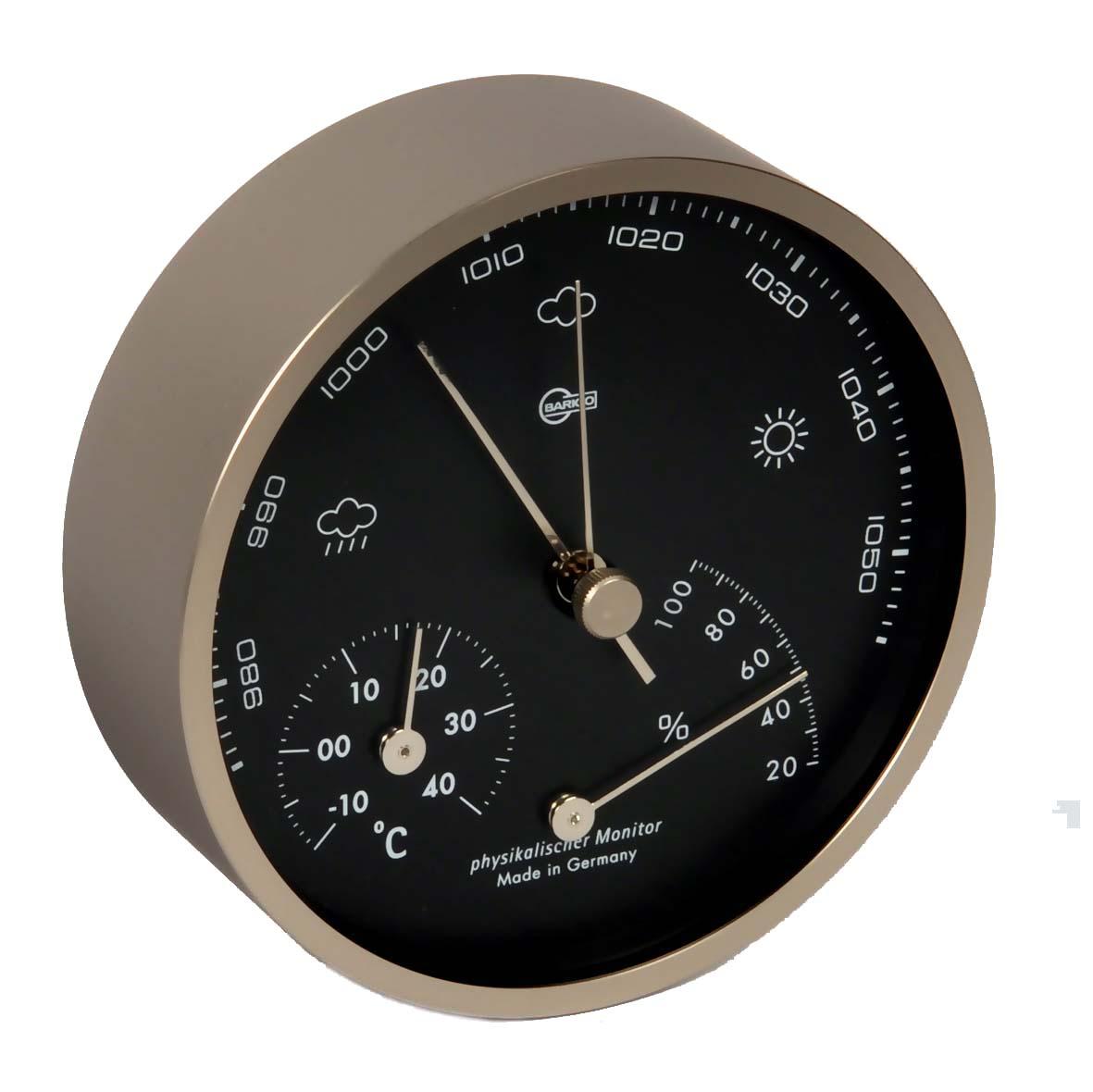 Barigo Regatta Wetterstation analog Barometer Thermohygromer Messing 120mm