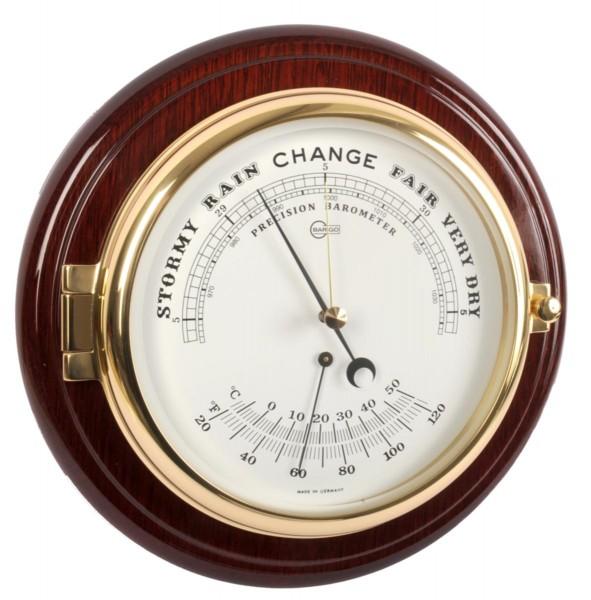 Schiffsbarometer mit Thermometer in einem hochglänzenden Mahagonikorpus
