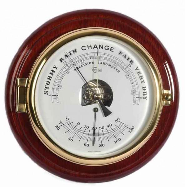 Schiffsbarometer und Thermometer im hochglänzenden Mahagonikorpus